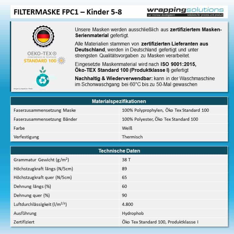 Atemmaske - Filtermaske FPC1-K1 2-lagig inklusive Filter - Kleine Kopfgröße (wiederverwendbar / waschbar)