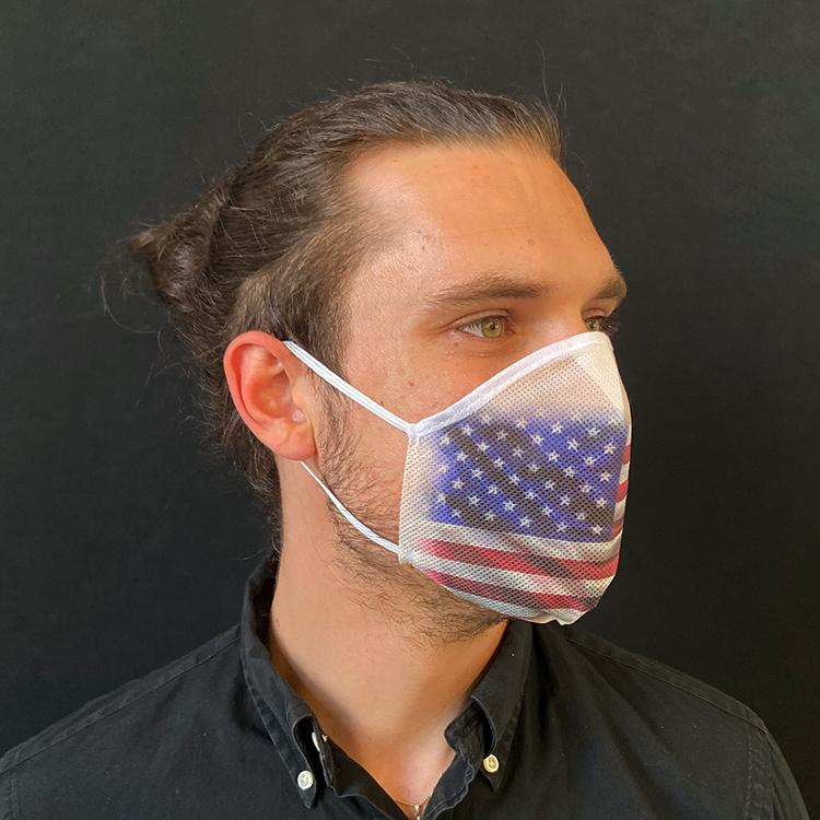 Atemmaske - Daily Mask 2 mit Einfass - Design USA / Vereinigte Staaten, Standardgröße, bevorzugt für Herren (wiederverwendbar / waschbar)