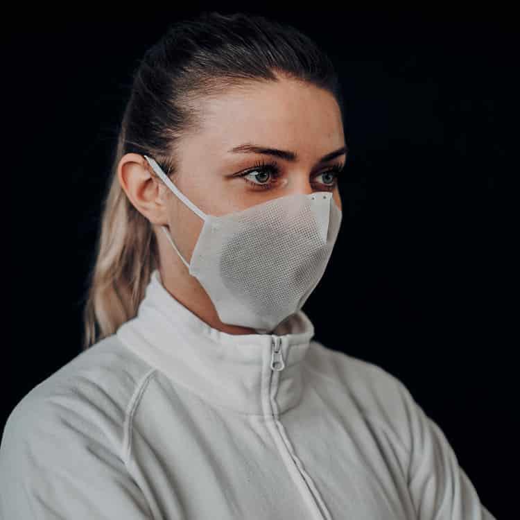 Atemmaske - Daily Mask 3-K2 ohne Einfass inklusive Filter - Mittlere Kopfgröße, bevorzugt für Damen (wiederverwendbar / waschbar)