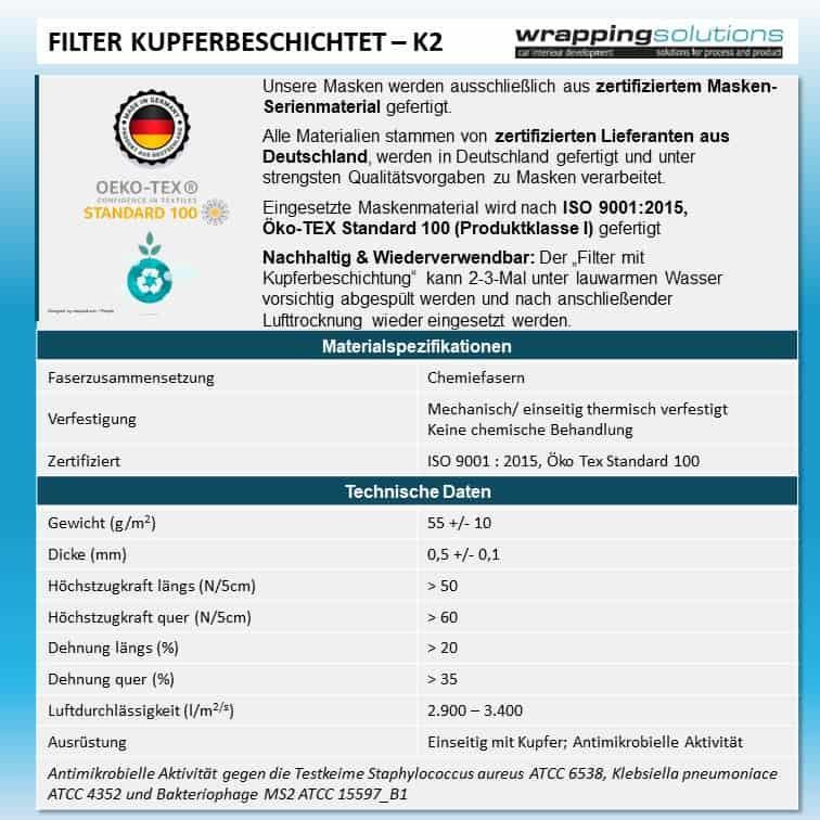 Filter mit Kupferbeschichtung - Mittlere Kopfgröße (für Filtermaske FPC1-K2)