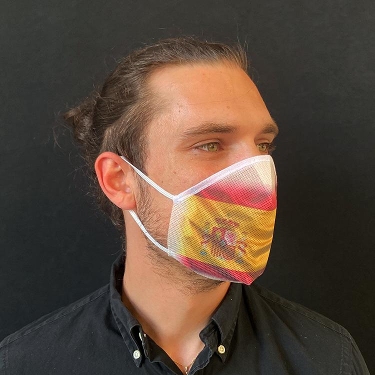 Atemmaske - Daily Mask 2 mit Einfass - Design Spanien, Standardgröße, bevorzugt für Herren (wiederverwendbar / waschbar)