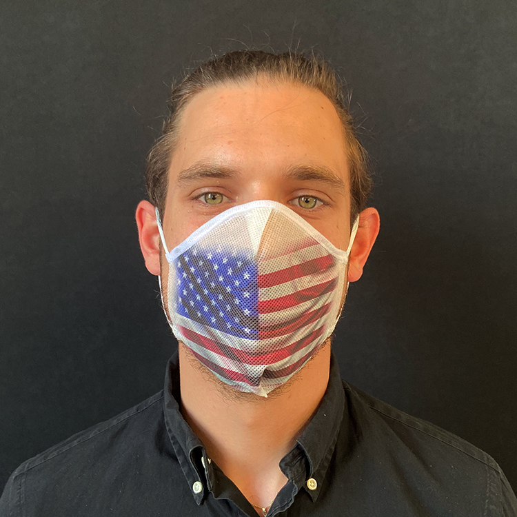 Atemmaske - Daily Mask 2 mit Einfass - Design USA / Vereinigte Staaten (wiederverwendbar / waschbar)