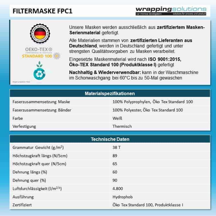 Atemmaske - Filtermaske FPC1 zweilagig inklusive Filter, Standardgröße, bevorzugt für Herren (wiederverwendbar / waschbar)