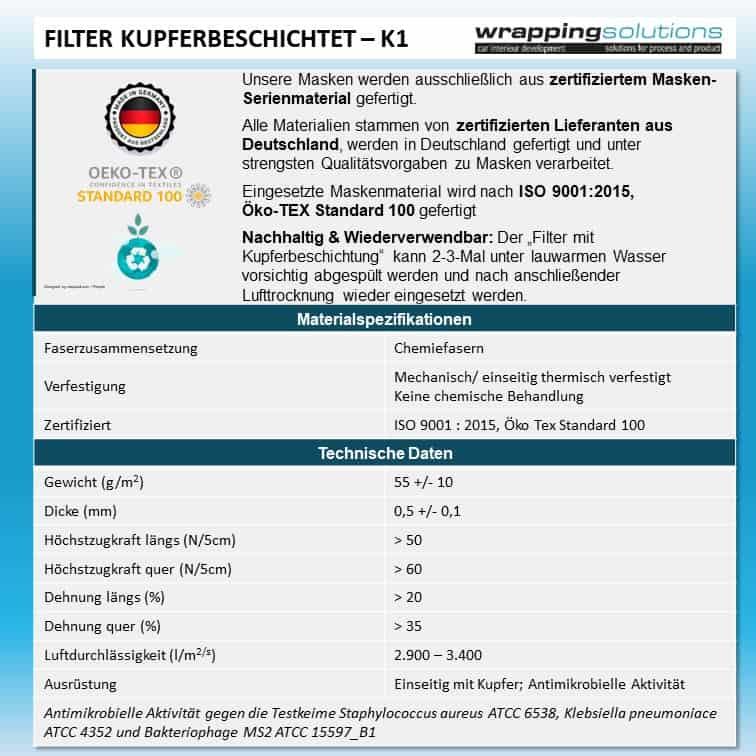 Filter mit Kupferbeschichtung - Kleine Kopfgröße (für Filtermaske FPC1-K1)