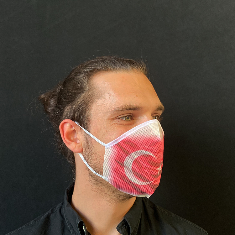 Atemmaske - Daily Mask 2 mit Einfass - Design Türkei (wiederverwendbar / waschbar)