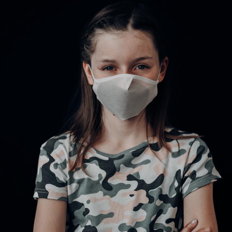 Atemmaske - Daily Mask 4-K2 mit Einfass inklusive Filter - Kinder 9-12 Jahre (wiederverwendbar / waschbar)