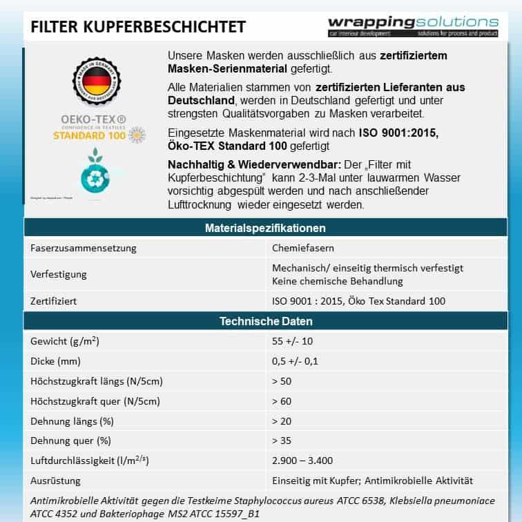 Filter mit Kupferbeschichtung 8x14cm, Standardgröße (für Filtermaske FPC1)
