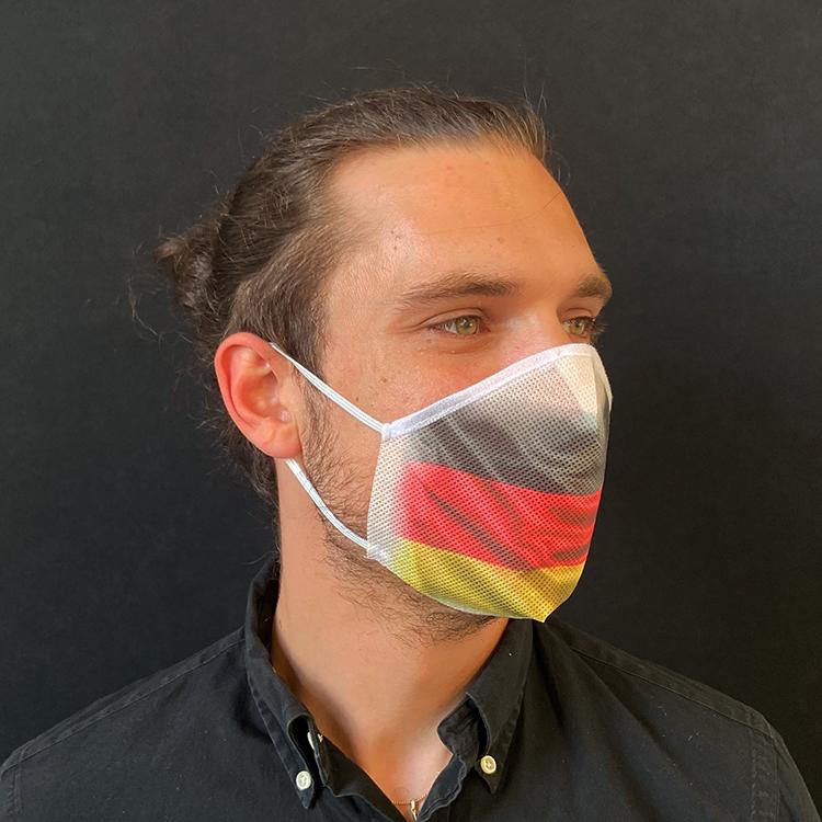 Atemmaske - Daily Mask 2 mit Einfass - Design Deutschland, Standardgröße, bevorzugt für Herren (wiederverwendbar / waschbar)