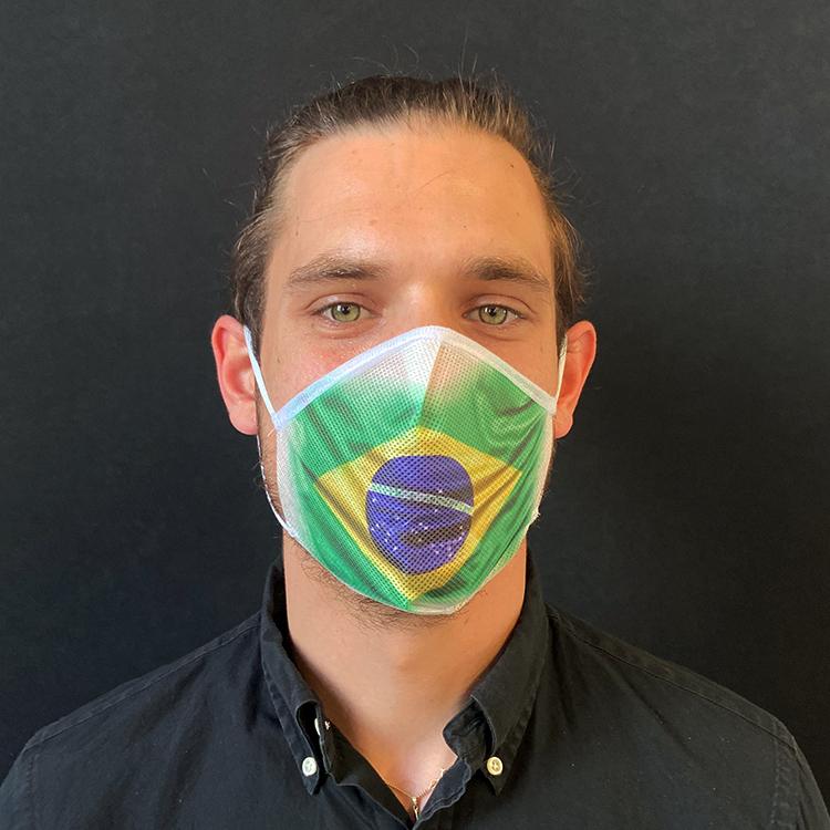 Atemmaske - Daily Mask 2 mit Einfass - Design Brasilien (wiederverwendbar / waschbar)