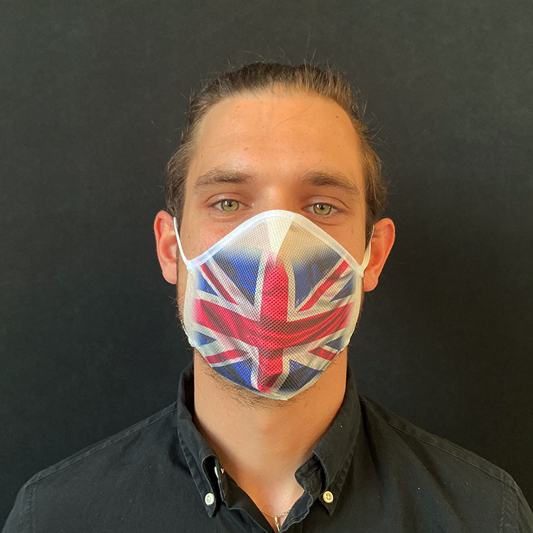 Atemmaske - Daily Mask 2 mit Einfass - Design Vereinigtes Königreich / Großbritannien / Nordirland, Standardgröße, bevorzugt für Herren (wiederverwendbar / waschbar)