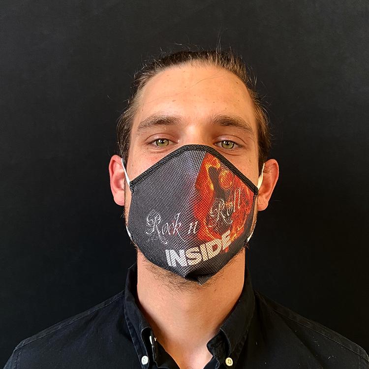 """Atemmaske - Daily Mask 2 mit Einfass - Design """"Rock'n'Roll Inside"""" - Guitar (wiederverwendbar / waschbar)"""