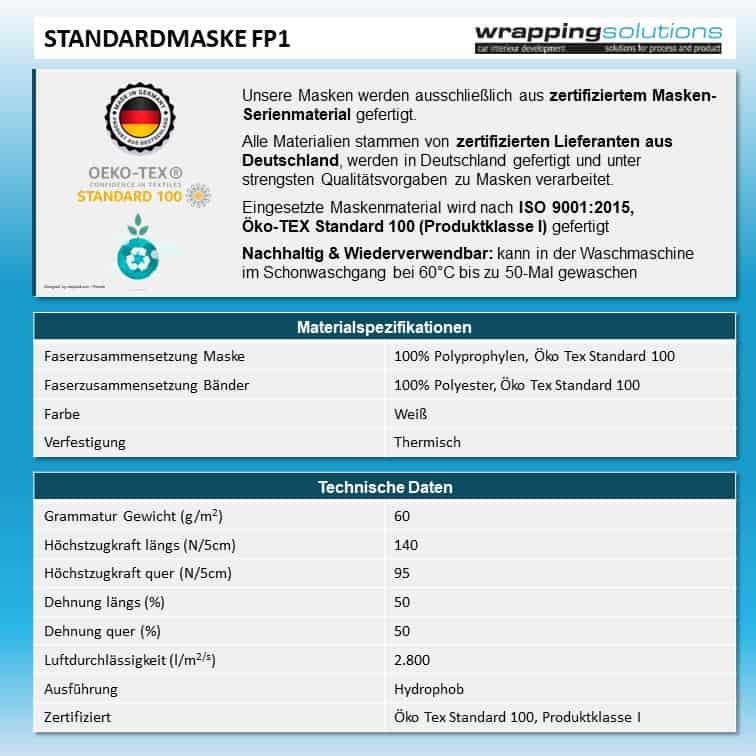 Atemmaske - Standardmaske FP1 einlagig, Standardgröße, bevorzugt für Herren (wiederverwendbar / waschbar)