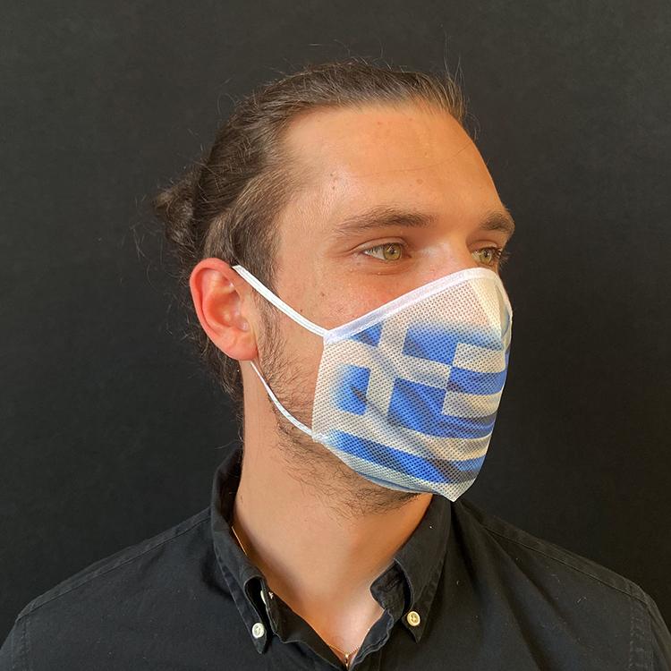 Atemmaske - Daily Mask 2 mit Einfass - Design Griechenland, Standardgröße, bevorzugt für Herren (wiederverwendbar / waschbar)