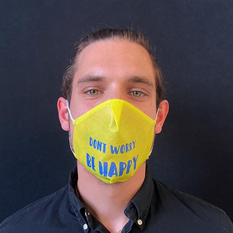 """Atemmaske - Daily Mask 2 mit Einfass - Design """"Don't worry be Happy"""" (wiederverwendbar / waschbar)"""