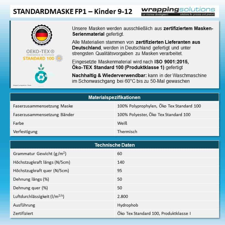 Atemmaske - Standardmaske FP1-K2 einlagig - Mittlere Kopfgröße, bevorzugt für Damen (wiederverwendbar / waschbar)
